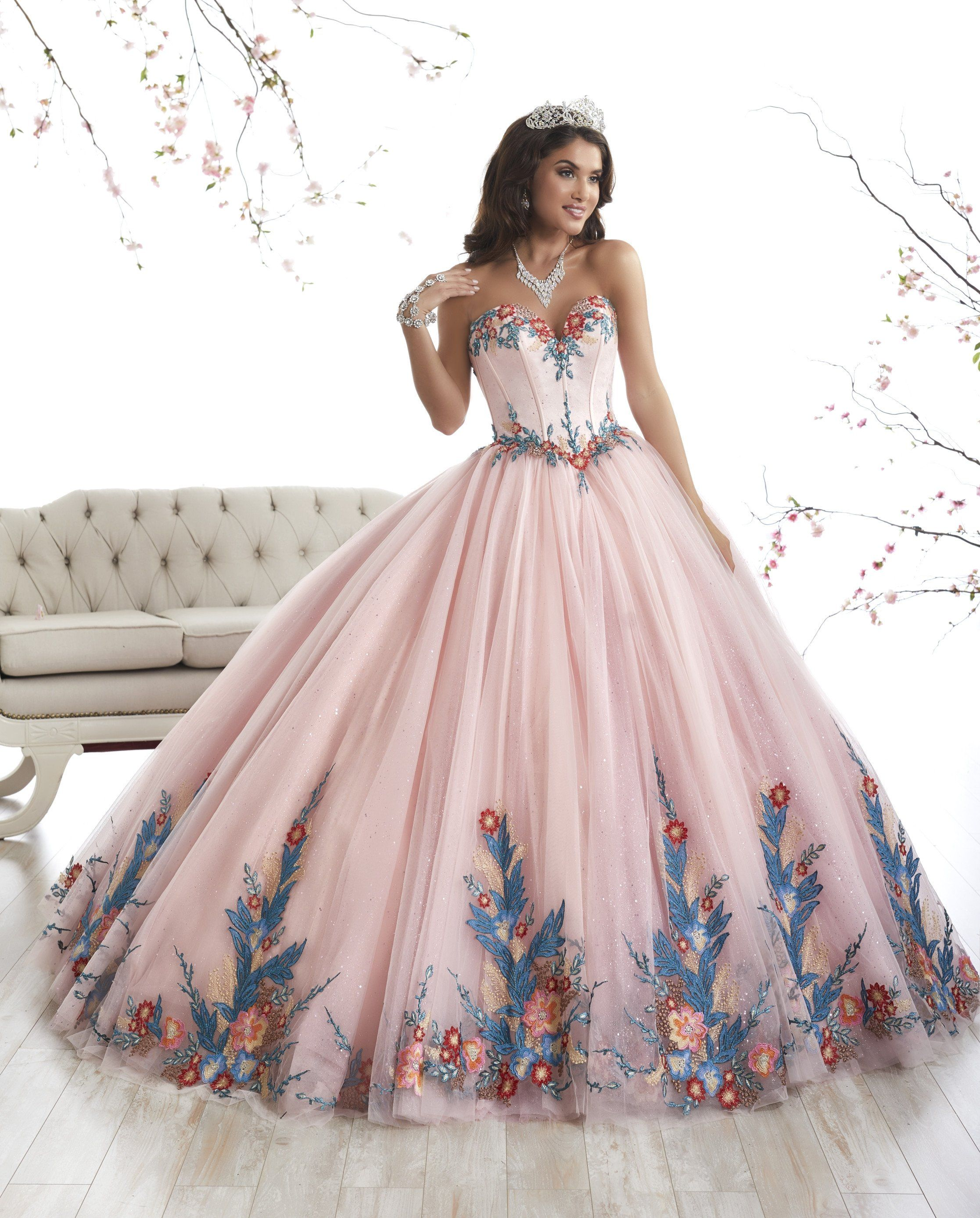 fa14f41bdee Floral Appliqued A-line Quinceanera Dress by House of Wu 26869 in ...