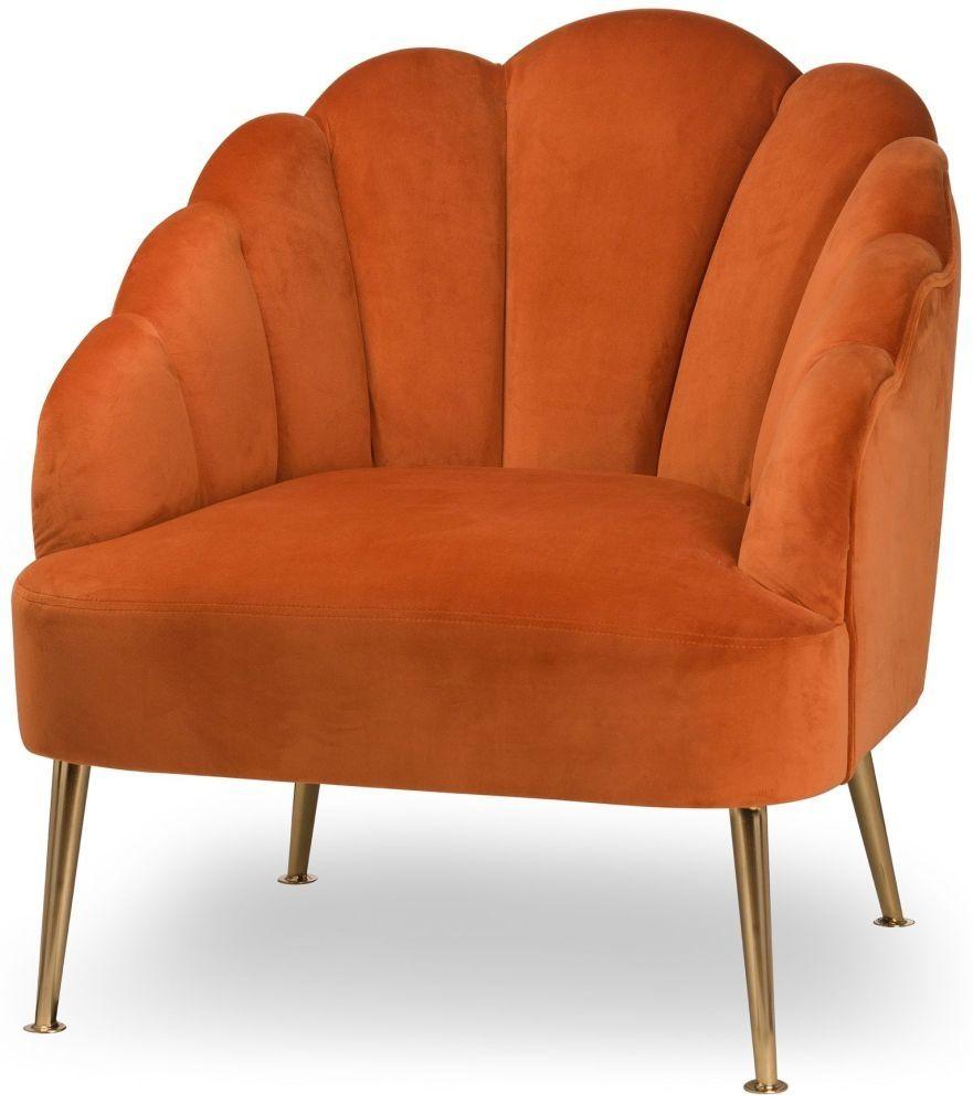 Hill interiors burnt orange velvet teacup chair in 2020