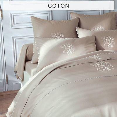 housse de couette coton brod e monogrammes manoir taupe bouchara collection 3 suisses d co. Black Bedroom Furniture Sets. Home Design Ideas