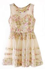 Pink Beige Sleeveless Floral Flare Lace Dress