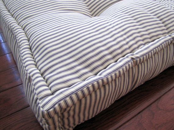 Custom French Mattress Cushions Shown In Blue Ticking