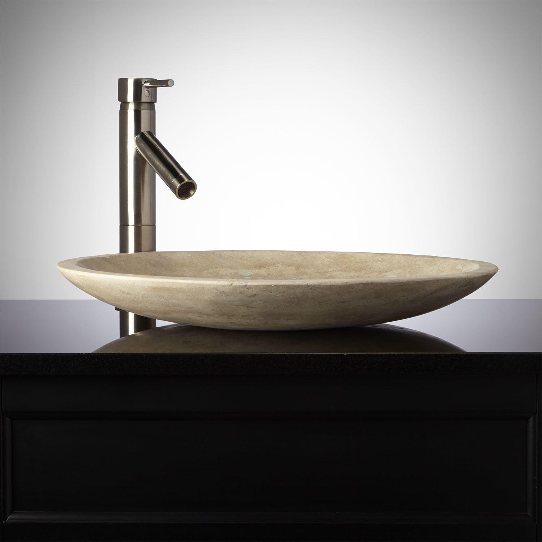 Bon Shallow Round Polished Beige Travertine Vessel Sink