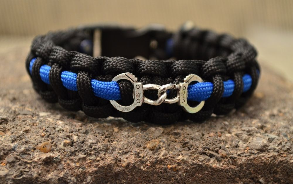 550 Paracord Survival Bracelet Police Thin Blue Line W Handcuff Handmade