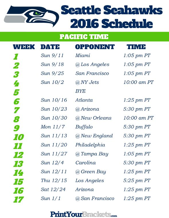 2020 Seattle Seahawks Schedule Printable Seattle Seahawks Pacific Time Schedule | Seahawks! #12th