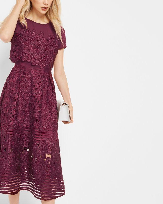 Sheer panel lace dress - Oxblood | Dresses | Ted Baker UK | Never ...