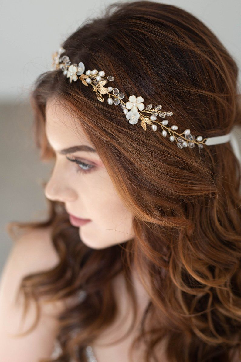 Gold Floral Bridal hair vine, Bridal Headpiece, Gold hair vine, Floral Bridal Tiara, Gold Headband, Vintage hair vine, Gold flower crown #bridalhairflowers
