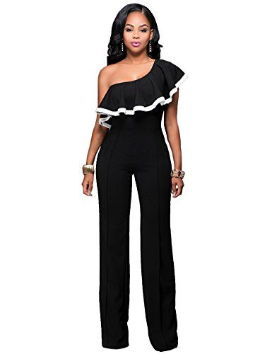 9fbefdaf50d Women Sexy Off One Shoulder Ruffle Clubwear Long Wide Leg Pants Jumpsuit  Romper Black XL -- See this great product. (Note Amazon affiliate link)   Jumpsuits