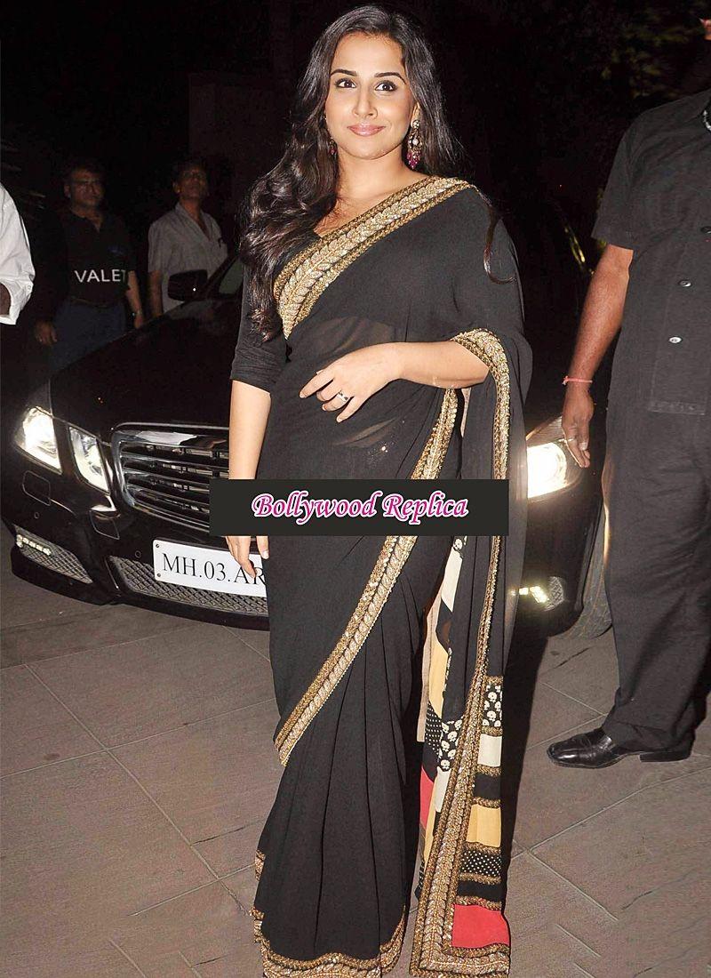 Vidhya Balan Georgette Black Saree