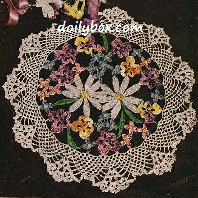 Free Vintage Crochet - Floral Bouquet Doily Pattern | Crochet ...