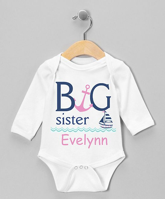3e2223a16012 Take a look at this Initial Request White   Pink Peony Personalized Long- Sleeve Bodysuit - Infant today!