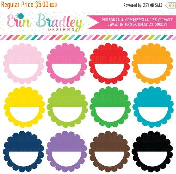 Scalloped Half Circles Clipart Graphics Commercial Use Ok Clip Art Circle Clipart Colorful Planner