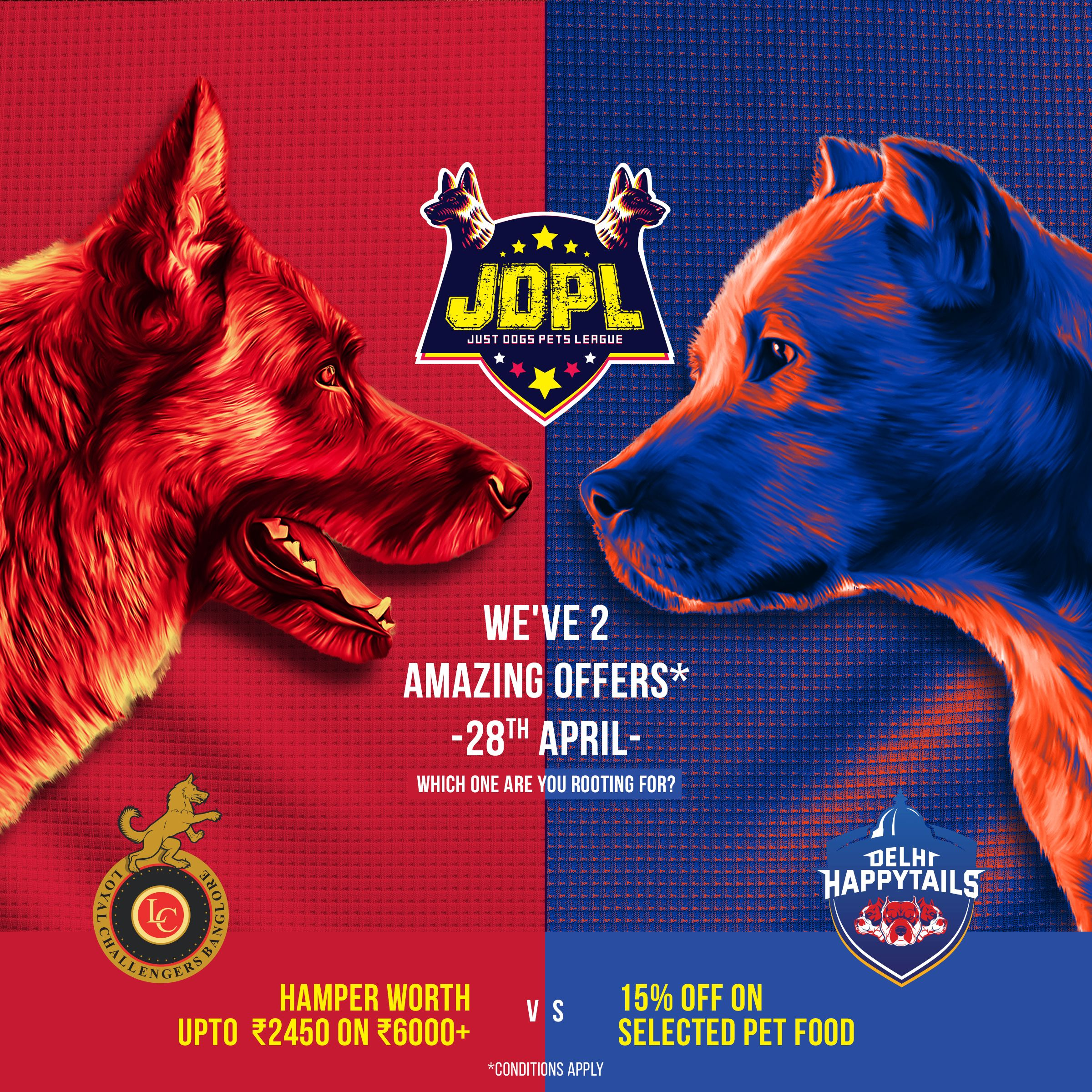 Ipl Is In Full Form And Jdpl Is In No Way Behind Support Loyal Challengers Bangalore And Get A Gift Hamper Worth Rs 2450 Or Support Food Animals Pets Pet Bed