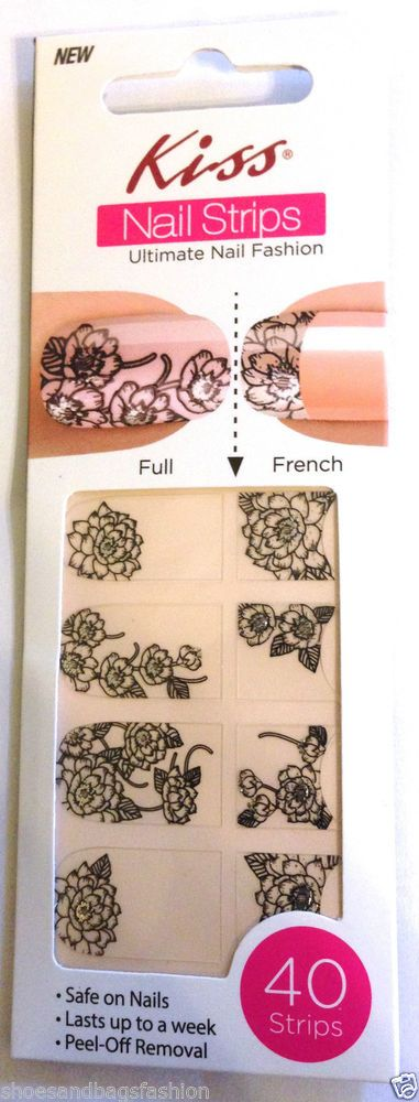 Kiss Nail Stick on Applique Strips French or Full 40 Strips # DMT 559 Flowers #KissNailDress