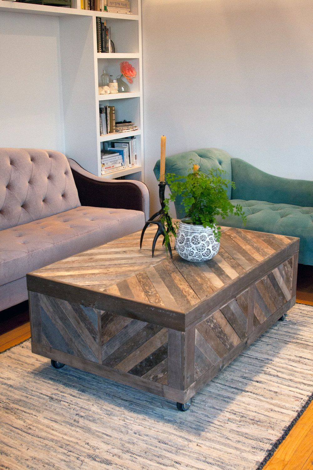 Chevron Pallet Coffee Table reclaimed chevron pallet and barn wood coffee table. $899.00, via