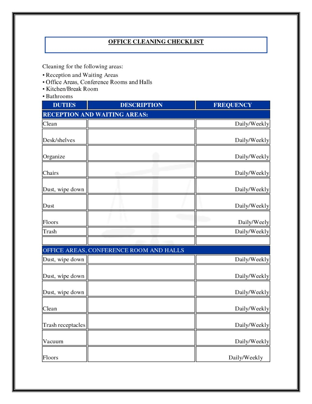 Daily Office Cleaning Checklist And Schedule Template