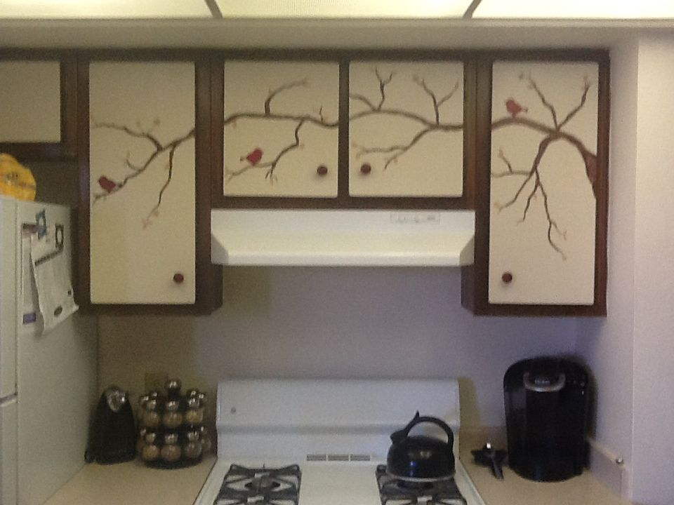 Craft Paint on the veneer of ugly old cabinets!!! Great ...