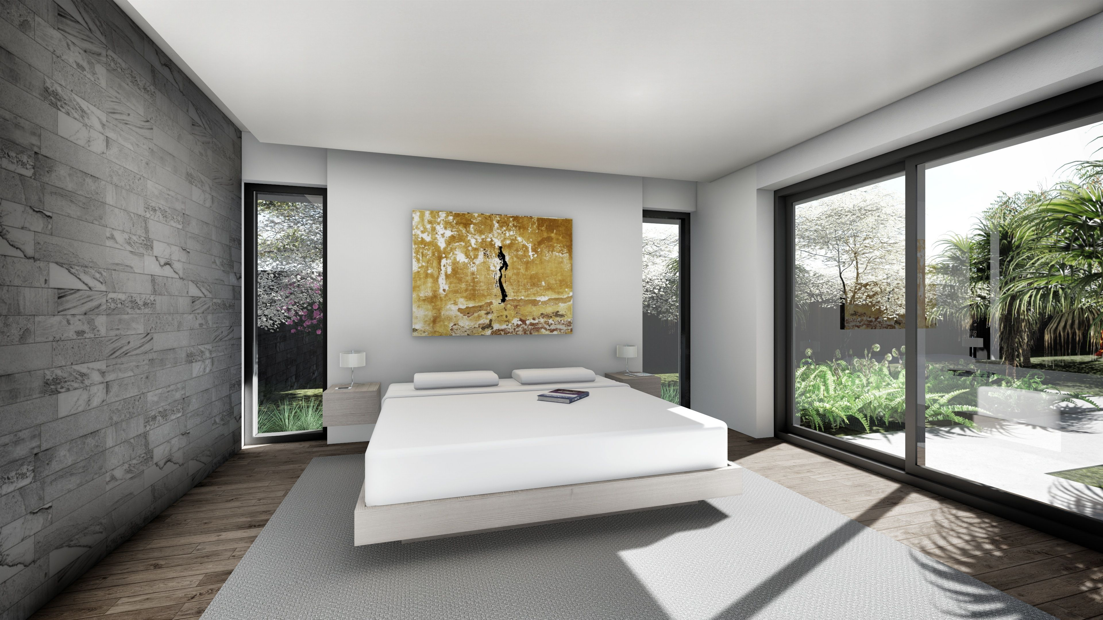 Modern Bedroom Enclosed By Marble Bathroom Partition And Sliding Bay - Bathroom partitions bay area