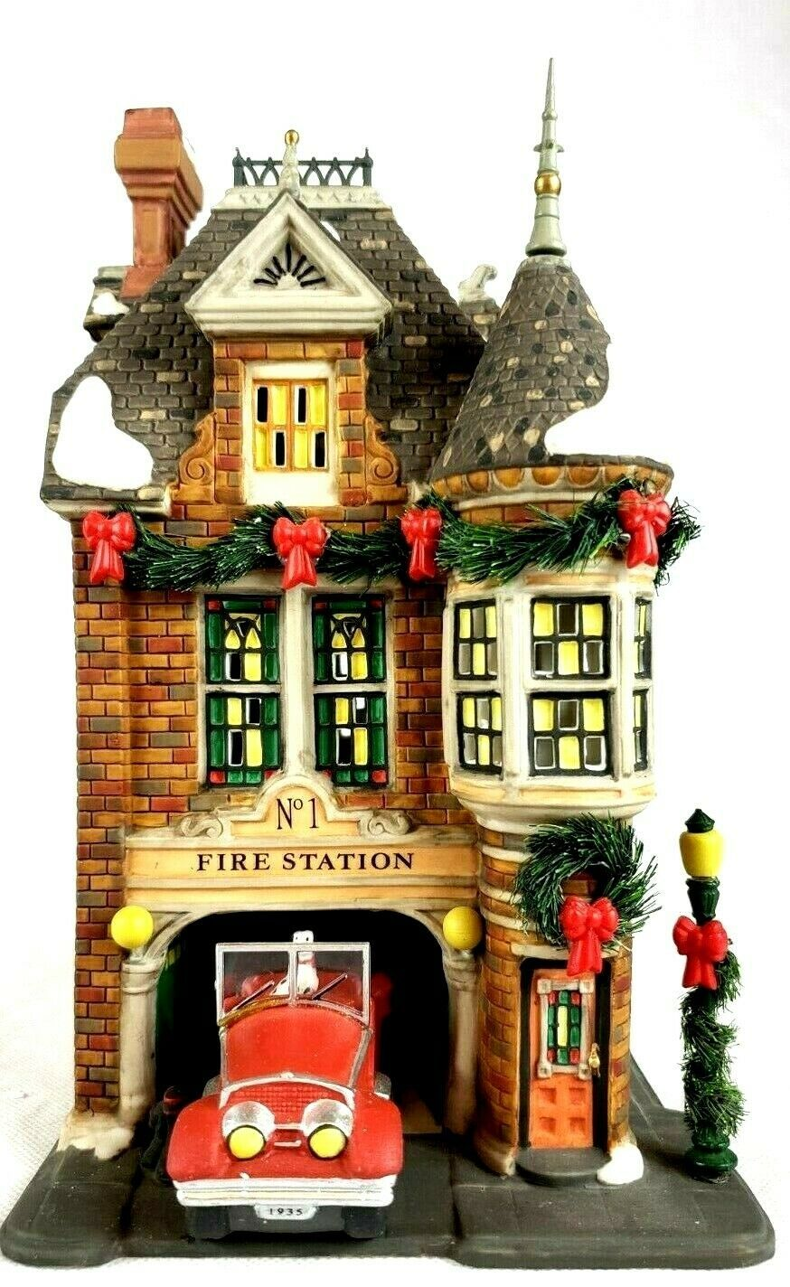"""Dept 56 """"Fire Station No. 1"""" State Farm Insurance Signed"""