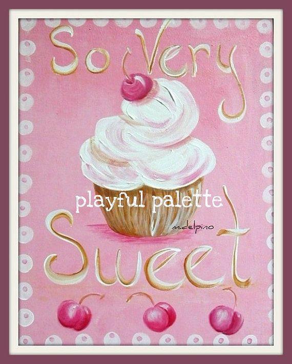 Cupcake Wall Art pink cupcake so sweet print little girl wall art baby girl bedroom