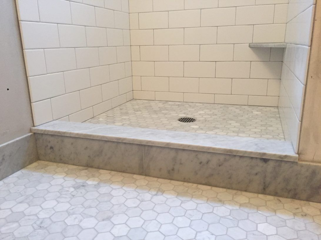 Subway Tile Shower Curb White Marble Shower Tile Shower