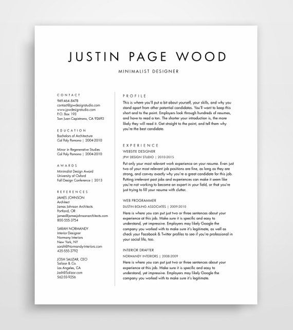 Simple Resume Template, Clean Resume, Simple Resume, Resume Template - 2016 resume formats drafter