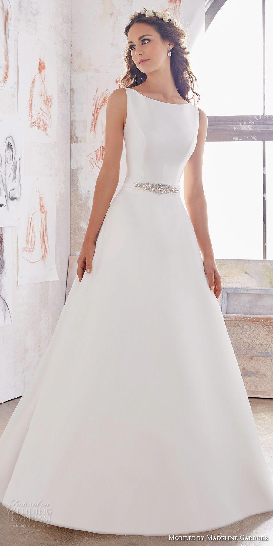 Morilee spring bridal sleeveless bateau neckline simple clean