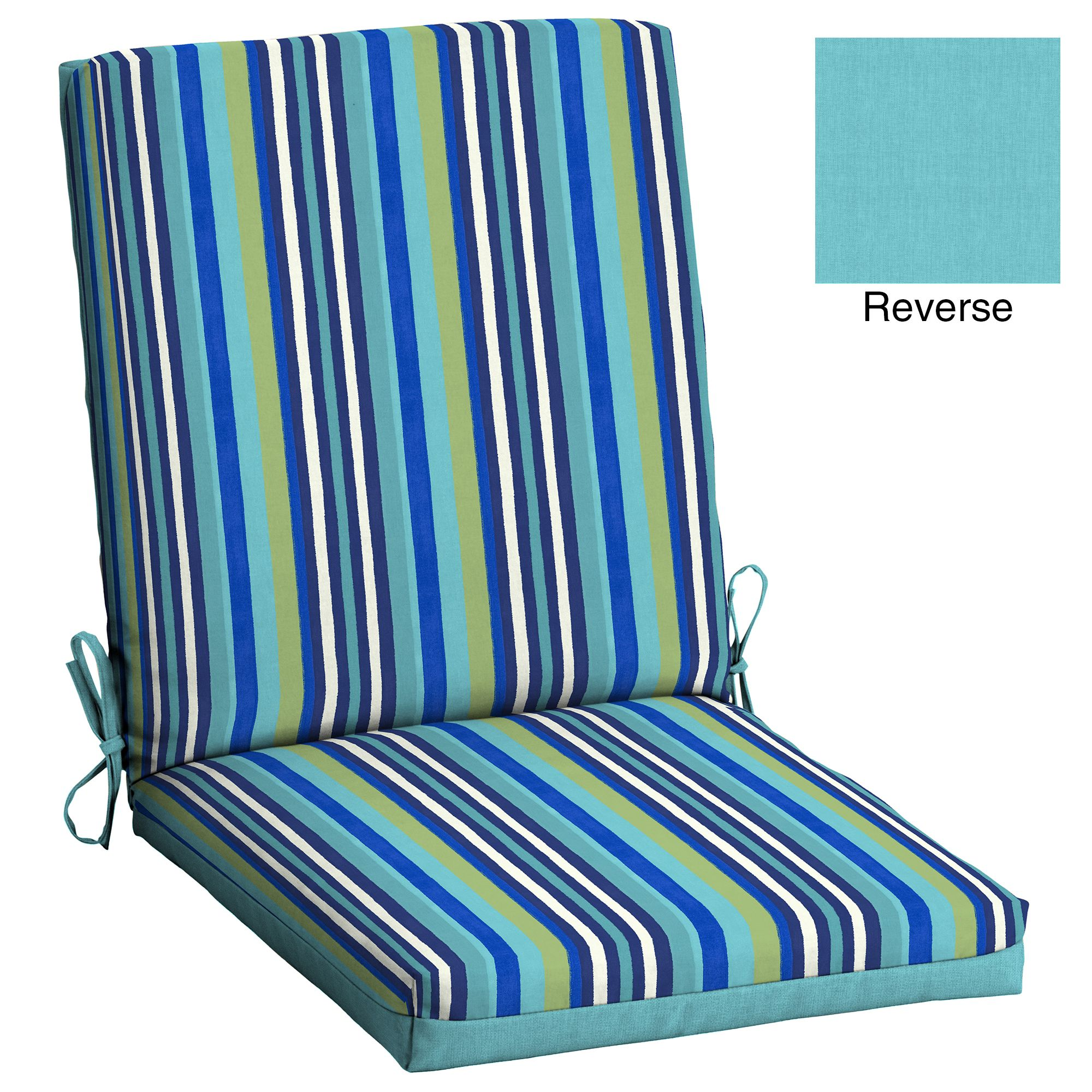 Mainstays Turquoise Stripe 1 Piece Outdoor Dining Chair Cushion Homedecorideas