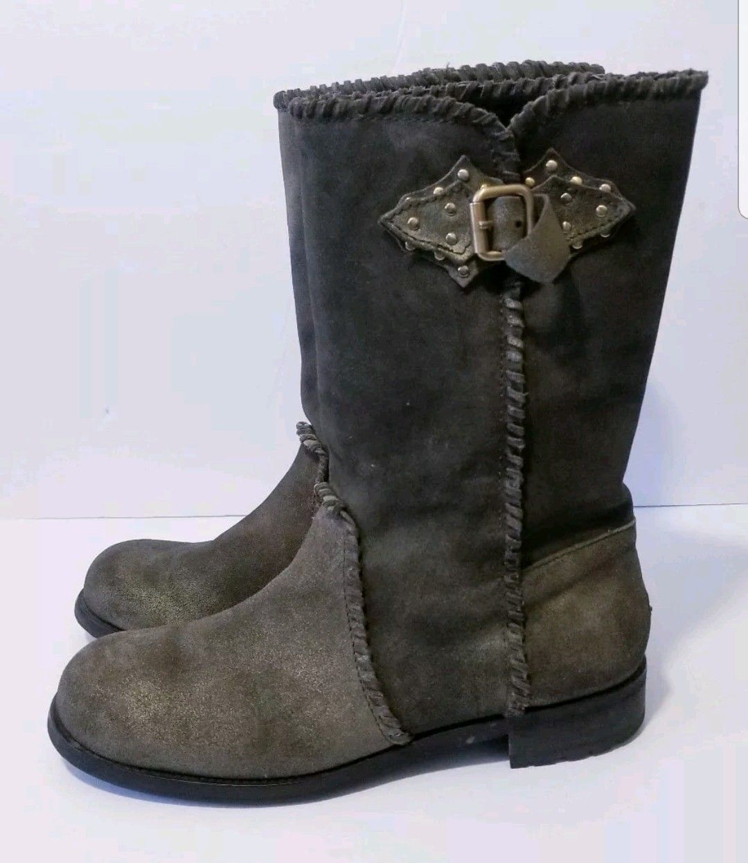 5016a7531ff Donald Pliner Gita Combat Boots Size 9 M Brown Suede Distressed Lace Up  Hipster