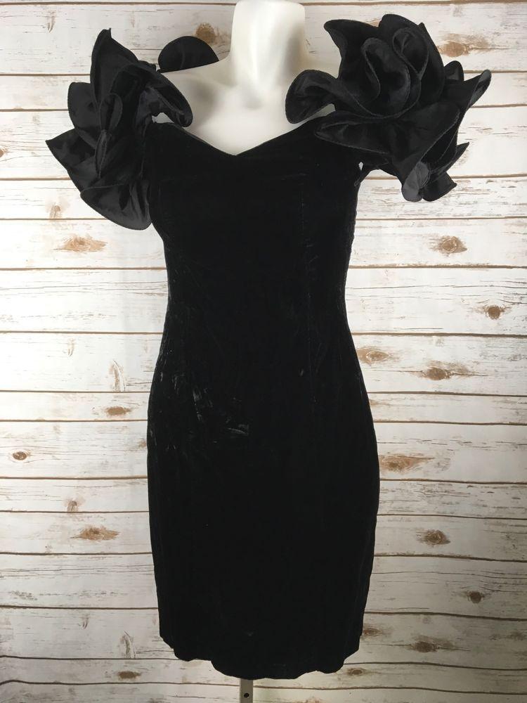 Zum Zum Black Dress Velvet Satin Formal Party Prom Teen 6 Vtg 80s