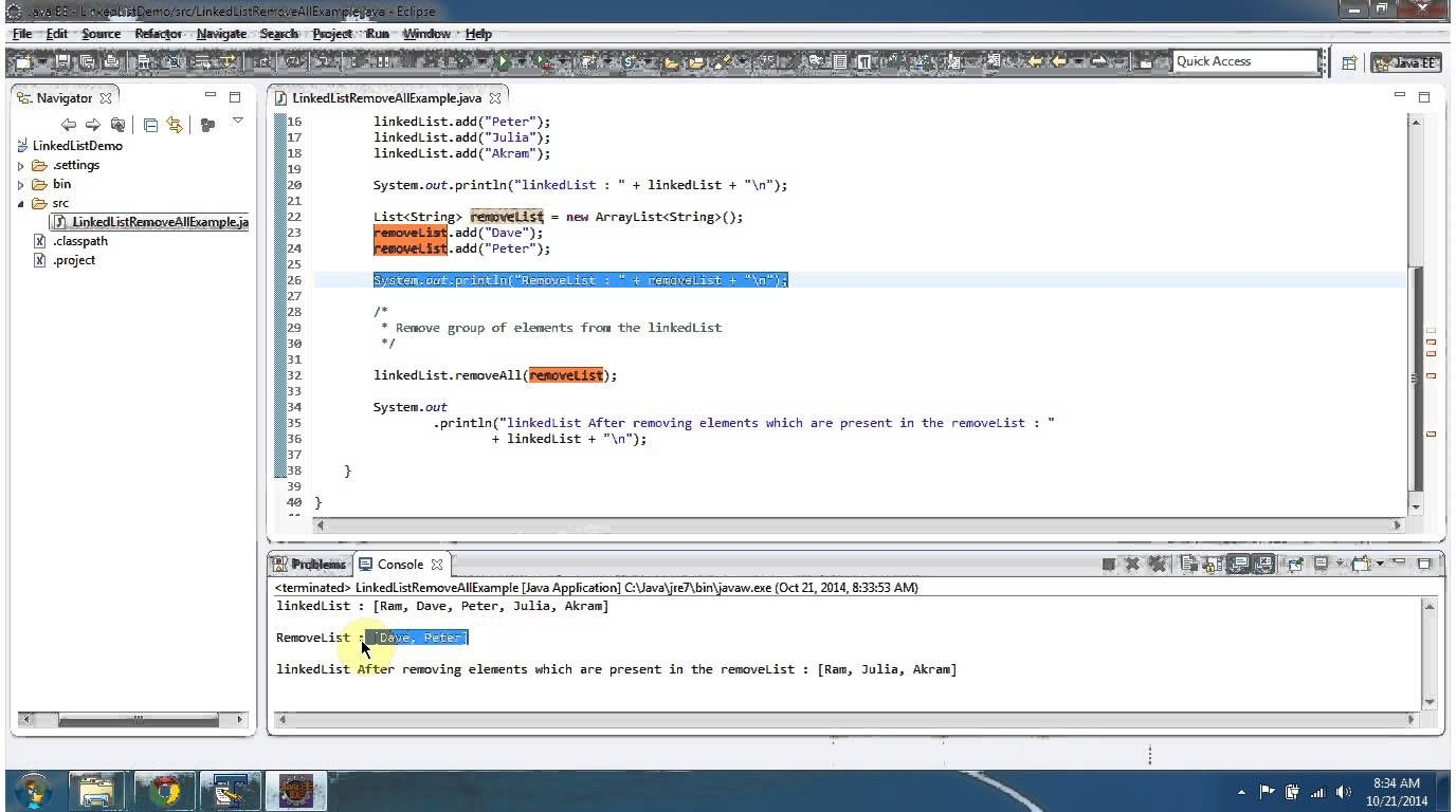 Java Collection Framework LinkedList (Remove Group of