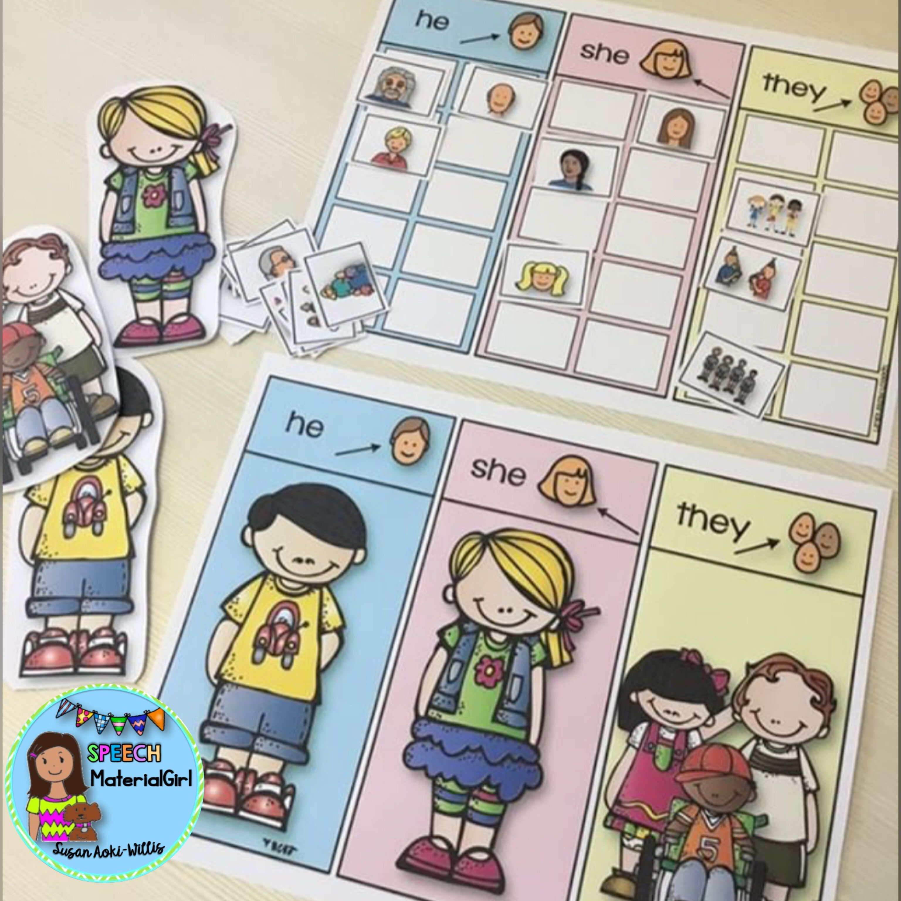 Speech Therapy Pronouns He She They Sorting Activity