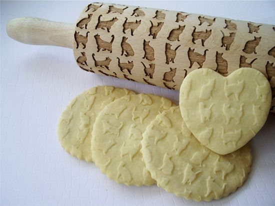 Look on etsy for embossed rolling pins like this CatPrintRollingPin1