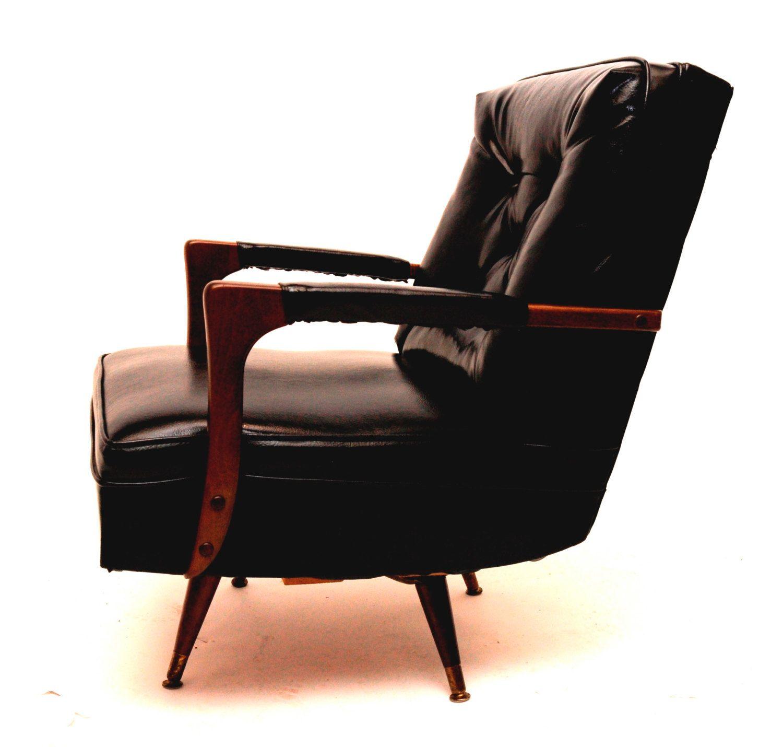Marvelous Rare Mid Century Modern Walnut Vinyl Lounge Swivel Rocking Machost Co Dining Chair Design Ideas Machostcouk
