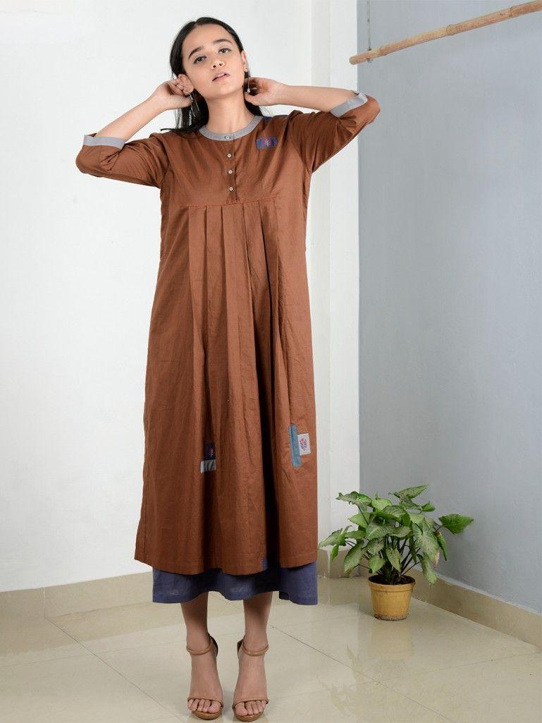 5ec5f2ef920a Brown Purple Patchwork Cotton Pleated Dress Western Wear