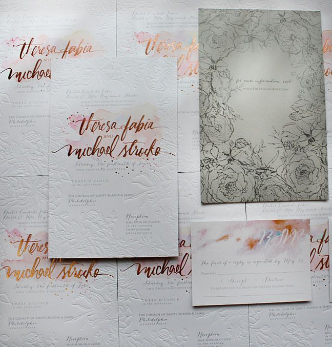 a peek into the studio rose gold foil and blind With rose gold embossed wedding invitations