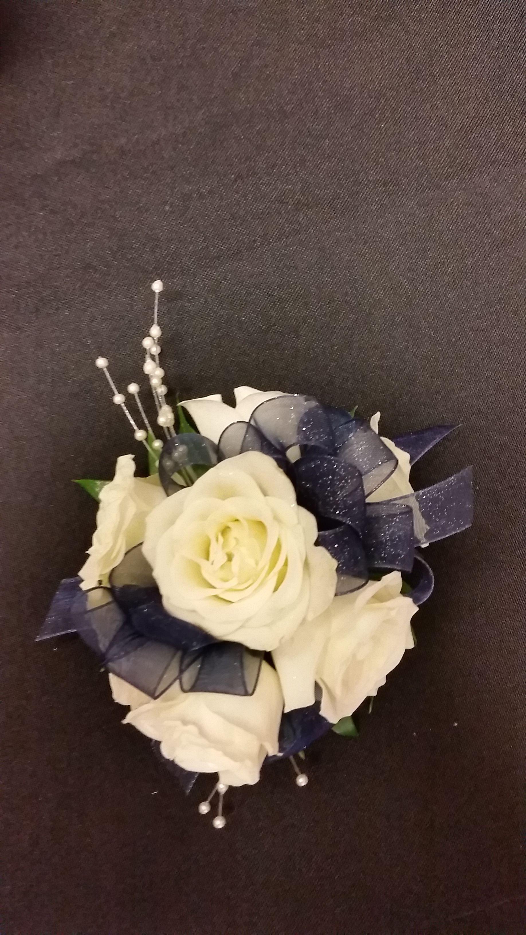 White Spray Roses White Prom Flowers Wristlet Prom Corsage Navy