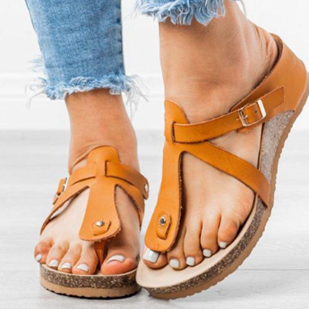 Big Size Women Comfy Rome Belt Buckle Clip Toe Flat Sandals