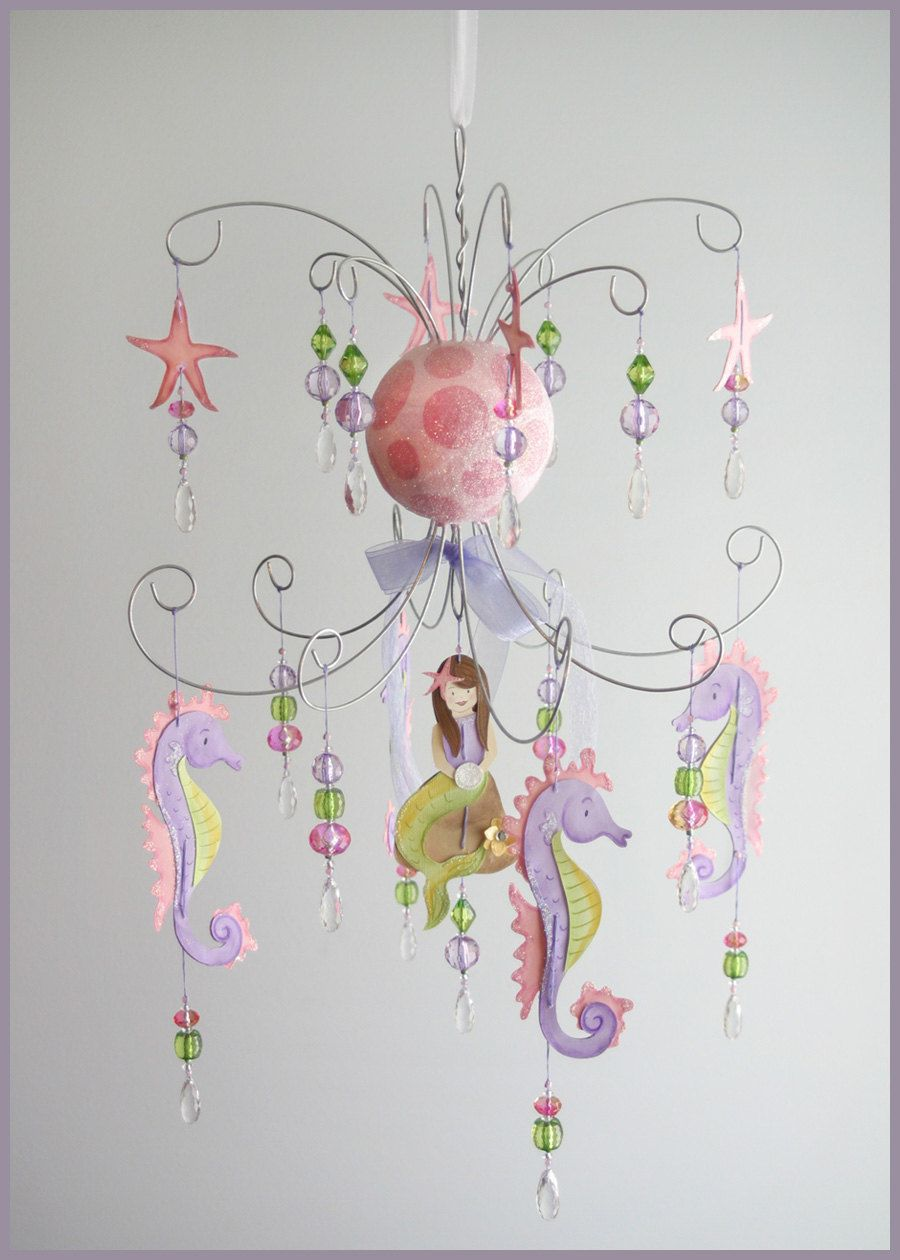 Purple and pink mermaid chandelier mobile baby mobile nursery purple and pink mermaid chandelier mobile baby mobile nursery mobile arubaitofo Gallery