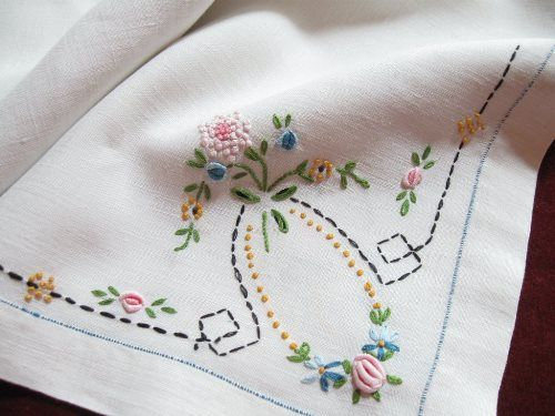 Vintage linencotton hand embroidered cross stitch tablecloth 10-2-19B