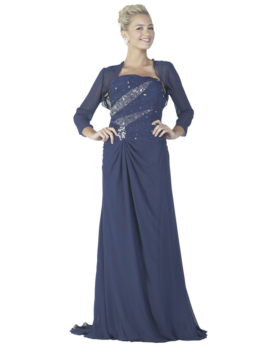 8b3a22162a Strapless Chiffon dress with embellished bodice. Side zip closure. This  dress comes with a long sleeve Chiffon bolero jacket.