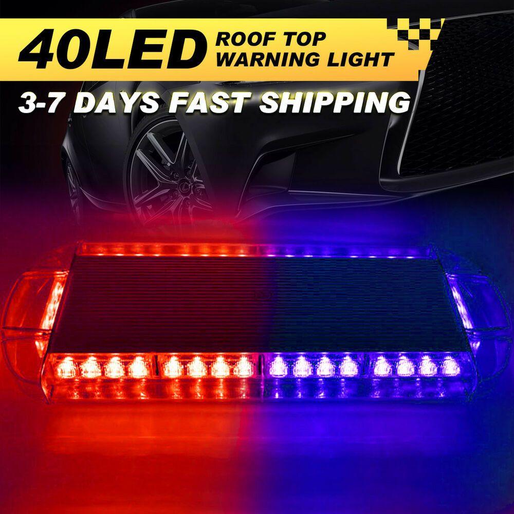 Ad Ebay 40 Led Strobe Light Bar Emergency Warn Beacon Hazard Car Truck Response Visor Us Led Strobe Light Bar Strobe Lights Bar Lighting