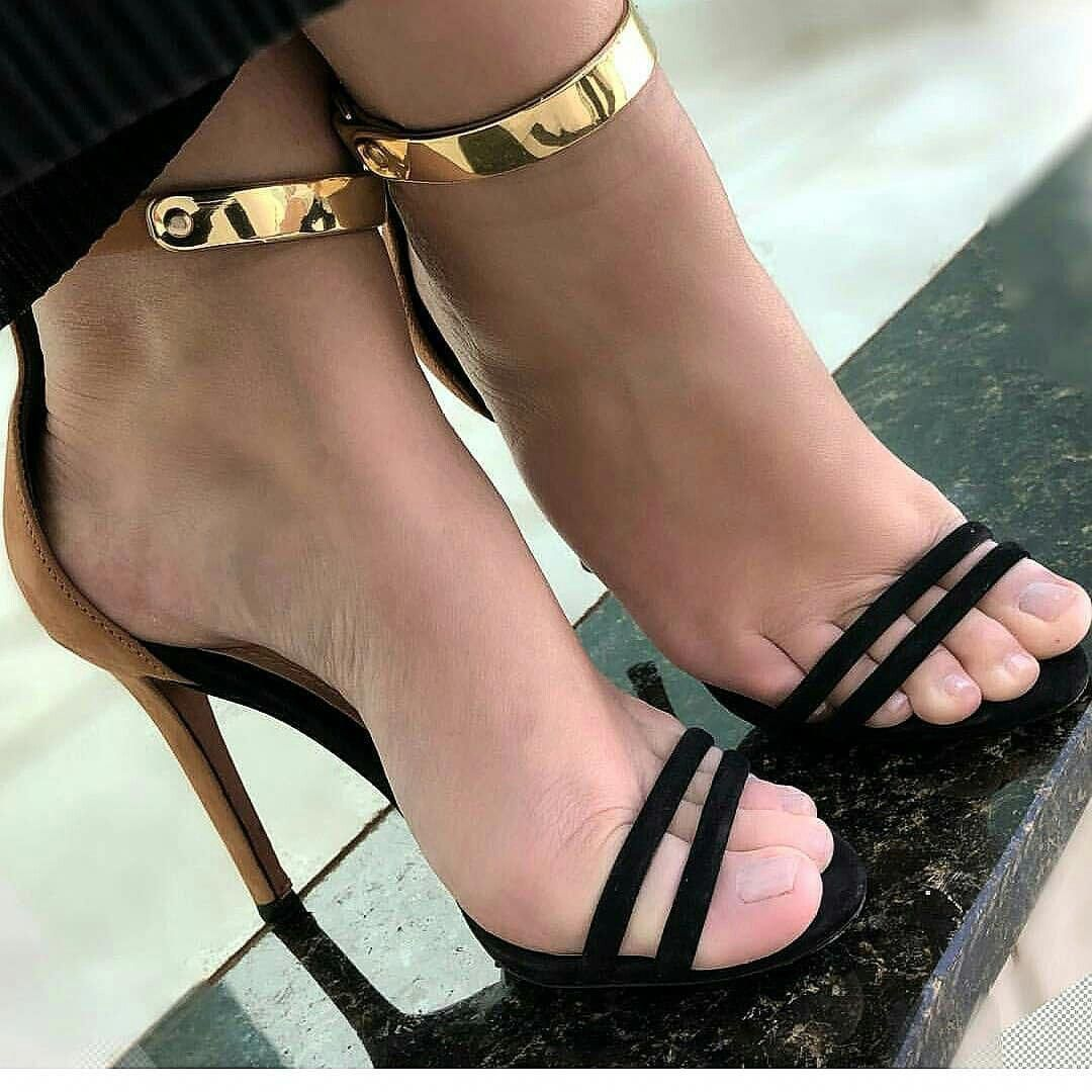 9a2792d4061 suede bottom heels w  twin black feet straps gold metal ankle strap   Blackhighheels