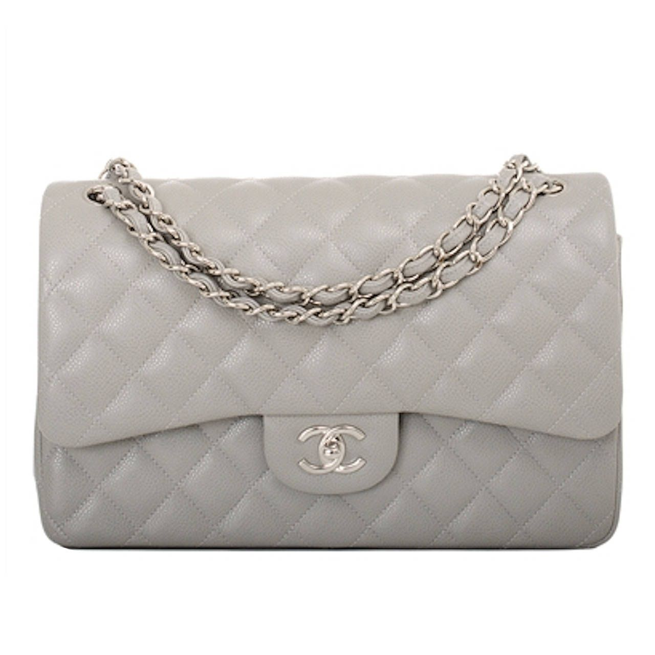 8f0ce1d3d3b92a Chanel Light Grey Quilted Caviar Jumbo Classic Double Flap Bag | From a  collection of rare