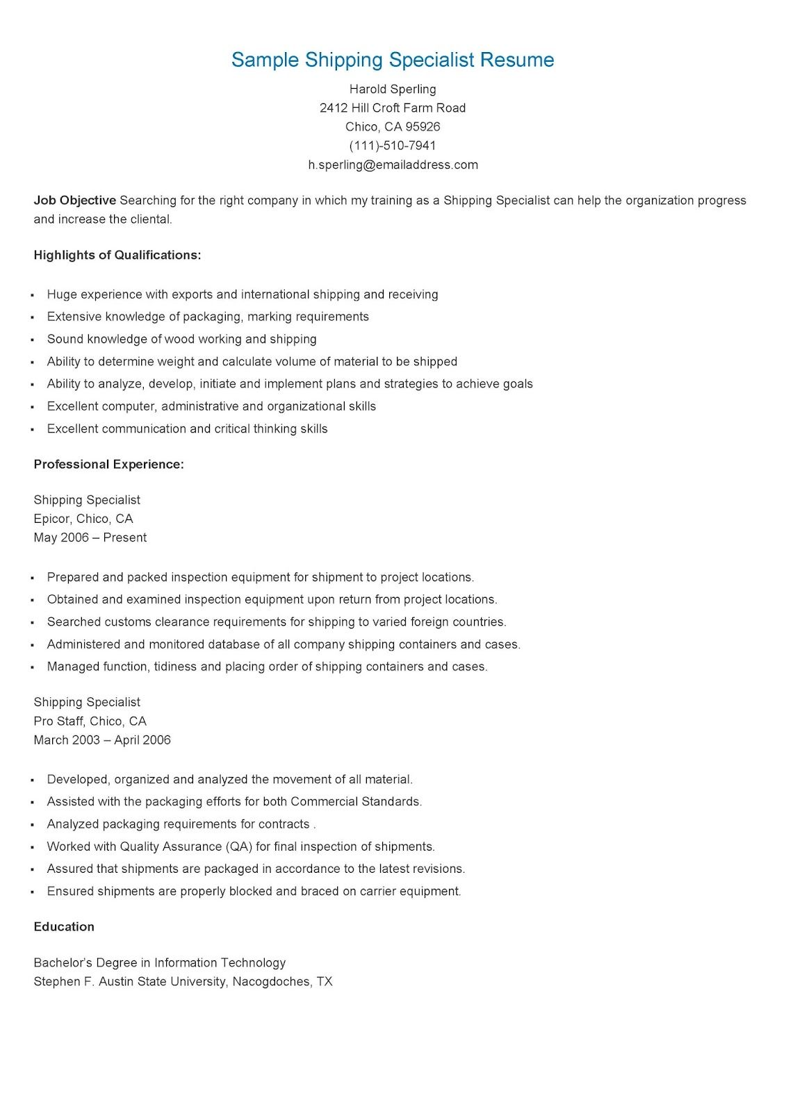 Sample Shipping Specialist Resume Resume Sample Resume Specialist