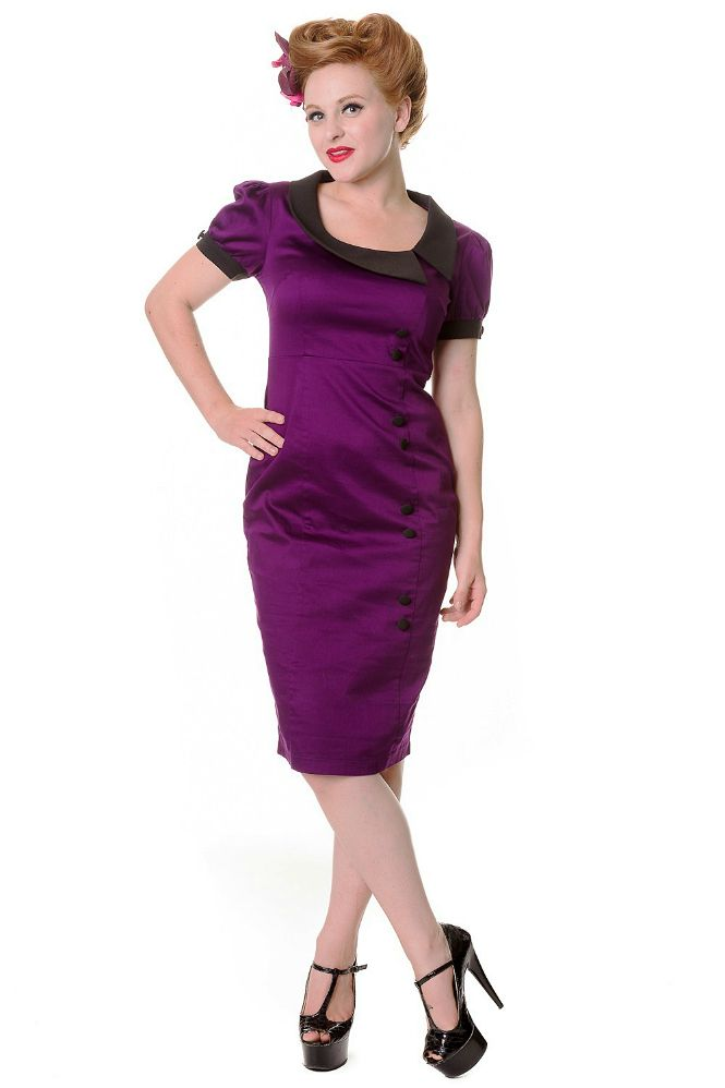 Purple Midi Vintage Banned Dress | Collared Retro Dress | Free UK Delivery