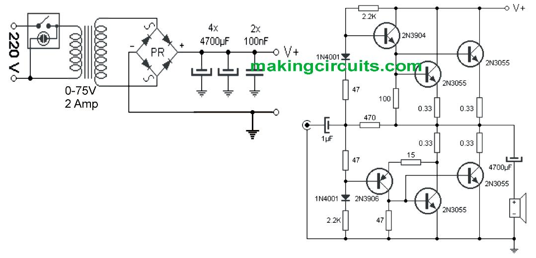 simple 100 watt amplifier circuit using 2n3055 transistors  dengan gambar