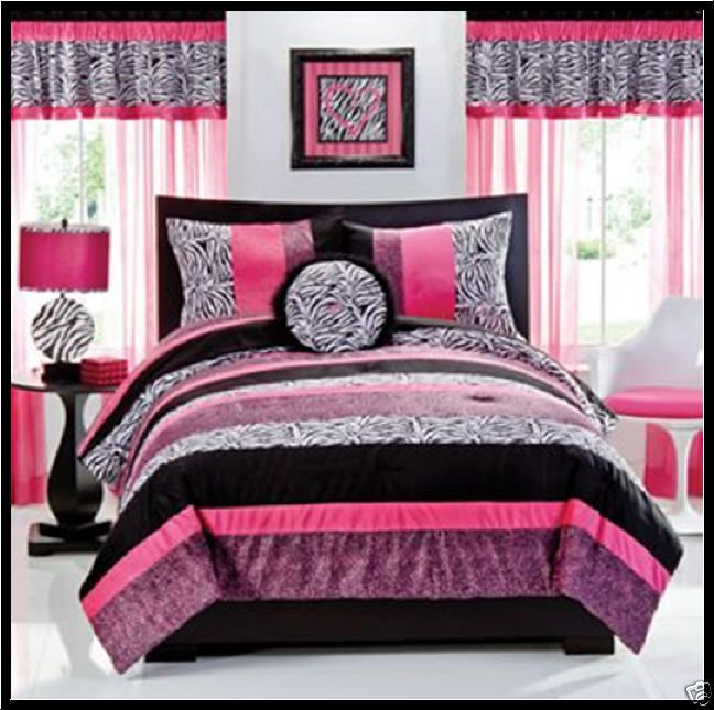 Seventeen Gigi Comforter Set 3 Pc Pink Black Leopard