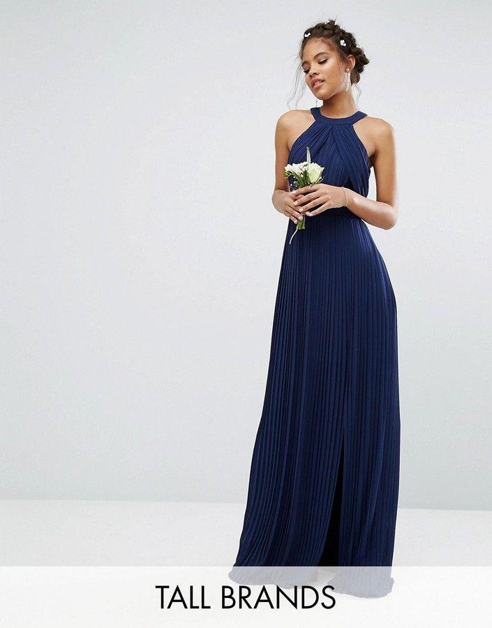 Mariage wedding robe longue pliss e bleu marine pour for Robes de demoiselles d honneur bleu marine mariage