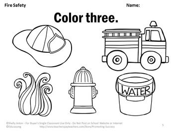 Fire Safety Activities, Number Words Worksheets