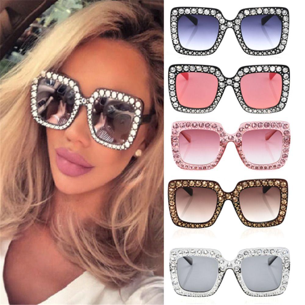 596b6405e4e 2018 Oversized Square Frame Bling Rhinestone Sunglasses Women Fashion Shades